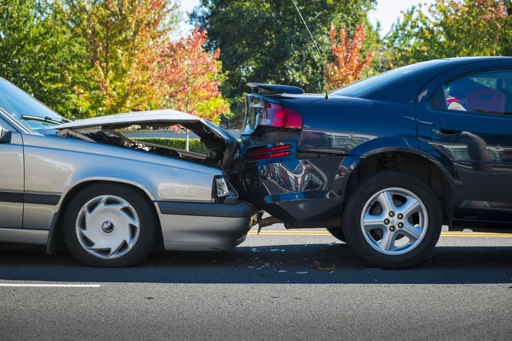 2 cars after a rear end collision