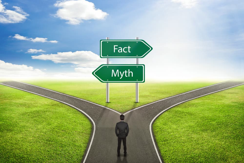 fork in the road with one side pointing to facts and the other pointing to myths