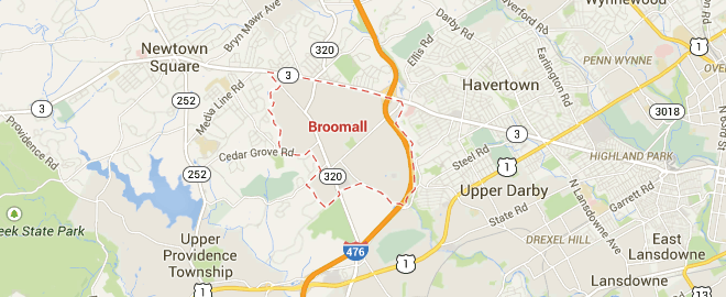 map showing broomall pa from google maps
