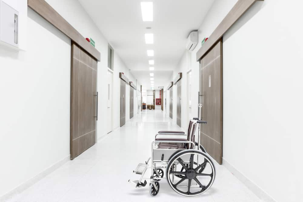 wheelchair sitting in a hospital hallway